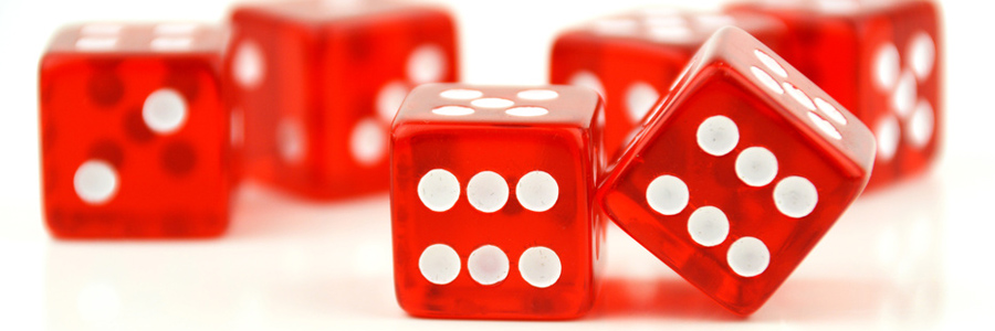 red dice, white spots - soft focus